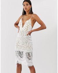 Love Triangle - Vestito midi bianco con spalline sottili e applicazione 3D - Lyst