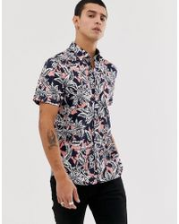 Ted Baker Shirt With Hawaiian Floral Print - Blue