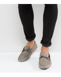 ASOS - Wide Fit Driving Shoes In Grey Suede With Snaffle - Lyst