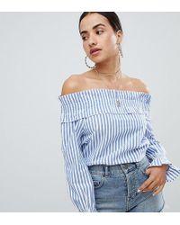 Boohoo - Bardot Shirred Cuff Stripe Top - Lyst