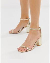 Glamorous - Gold Block Heel Sandals - Lyst
