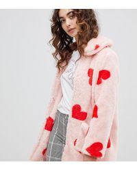 Daisy Street - Coat With All Over Hearts In Faux Fur - Lyst