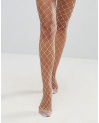 ASOS - Oversized Fishnet Tights In Light Blue - Lyst
