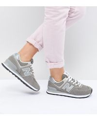 New Balance - 574 Suede Trainers In Grey - Lyst