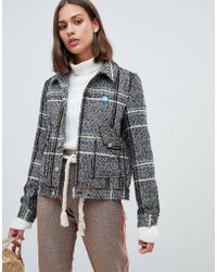 Maison Scotch - Short Wool Belted Worker Jacket In Check - Lyst