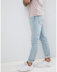 Hollister - Slim Fit Stretch Jeans In Light Wash - Lyst