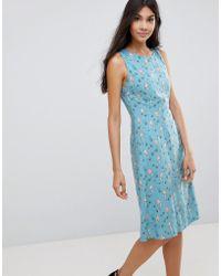 Sugarhill - Mermaid Print Fit & Flare Dress - Lyst
