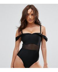Wolf & Whistle - Tailored Off The Shoulder Swimsuit With Mesh Inserts Dd - G Cup - Lyst