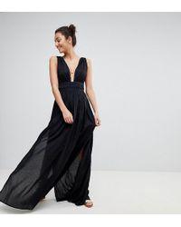 ASOS - Asos Design Tall Grecian Plunge Maxi Woven Beach Dress - Lyst