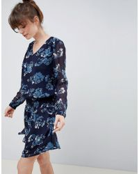 Ichi - Floral Waisted Dress - Lyst