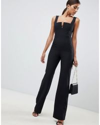 Vesper - Plunge Front Wide Leg Jumpsuit In Black - Lyst