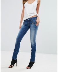 Replay - Mid Rise Biker Jeans With Zip Pockets - Lyst