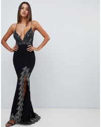 Love Triangle - Plunge Front Strappy Back Maxi Dress With Contrast Lace Applique In Black - Lyst