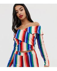 John Zack - Off Shoulder Wrap Crop Top Co-ord In Multi Stripe - Lyst
