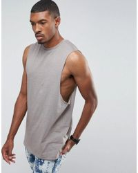 bbd35957e073c Asos Sleeveless T-shirt With Distressed Acid Wash And Extreme ...