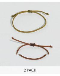 ASOS - Design 2 Pack Bracelet In Khaki And Brown - Lyst