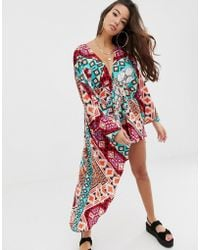 3e422812 ASOS - Glam Cape Back Beach Playsuit In Scarf Print - Lyst