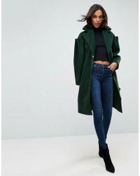 ASOS - Asos Slim Coat With Statement Sleeve - Lyst