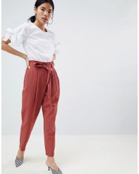 New Look - Tie Waist Tapered Trouser - Lyst