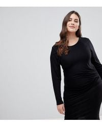 Lipsy | Bodycon Midi Dress With Knot Front Detail | Lyst