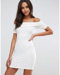 ASOS | Super Soft Deep Bardot Mini Bodycon Dress | Lyst
