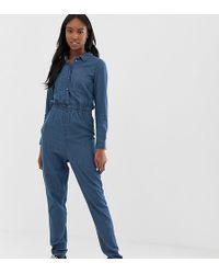 6fb34fa16c47 Noisy May Tall - Denim Boiler Suit - Lyst