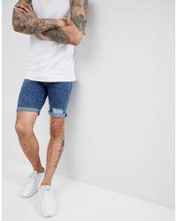 ASOS - Denim Shorts In Super Skinny Acid Blue Wash With Rips - Lyst