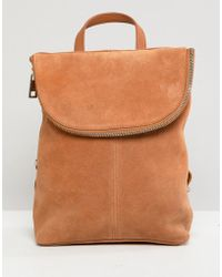 ASOS - Suede Mini Foldover Backpack - Lyst