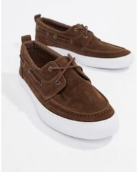 ASOS - Design Vegan Friendly Boat Shoes In Brown Faux Suede - Lyst