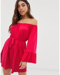 a5b15680fcf8 Wallis Coral Floral Double Flute Sleeve Shift Dress in Red - Lyst