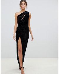 ASOS - One Shoulder Sparkle Velvet Maxi Dress - Lyst
