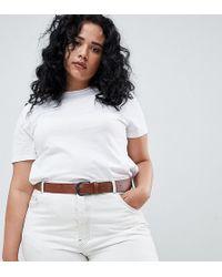 ASOS - Asos Design Curve Vintage Tan Jeans Belt In Water Based Pu - Lyst