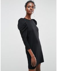 ASOS - Crepe Mini Dress With Puff Sleeves - Lyst