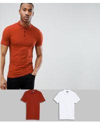 ASOS - Muscle Fit Polo In Jersey 2 Pack Save - Lyst