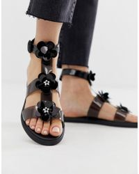 Juicy Couture Clear Flat Sandal - Black