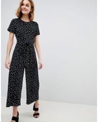 Warehouse | Spot Print Belted Crepe Jumpsuit | Lyst