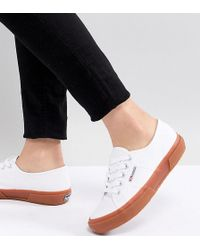 Superga - 2750 Classic Canvas Sneakers In White With Gum Sole - Lyst