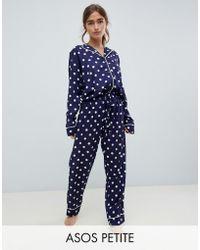 ASOS - Asos Design Petite Polka Dot Traditional 100% Modal Pyjama Set - Lyst
