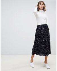 SELECTED - Femme Pleated Printed Midi Skirt - Lyst