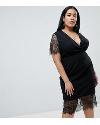 ASOS - Asos Design Curve Pencil Dress With V Neck And Lace Sleeves And Hem - Lyst