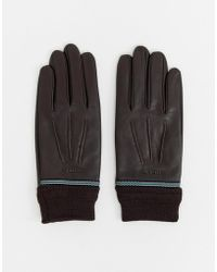 Ted Baker - Gloves In Leather & Ribbed Cuff - Lyst