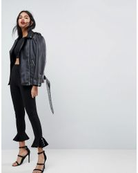 ASOS - Skinny Trousers With Eyelet Fluted Hem - Lyst