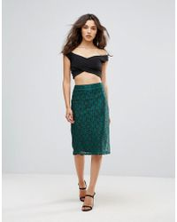 Madam Rage - Lace Pencil Midi Skirt - Lyst