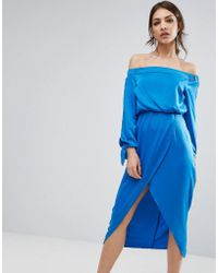 Lavish Alice - Off Shoulder Midi Dress With Tie Sleeve - Lyst