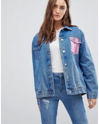 Chorus - Metallic Foil Pocket Oversized Denim Jacket - Lyst