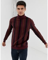 New Look - Roll Neck With Vertical Stripe In Burgundy - Lyst