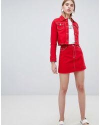 Urban Bliss - A Line Denim Skirt With Raw Hem - Lyst