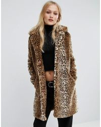 First & I - Leopard Faux Fur Coat - Lyst