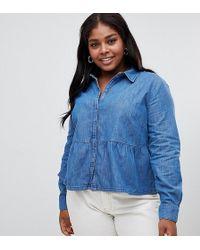 ac5273c5a2 ASOS - Asos Design Curve Denim Shirt With Ruffle Hem In Midwash Blue - Lyst