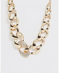 ASOS - Statement Necklace With Crystal Link In Gold Tone - Lyst